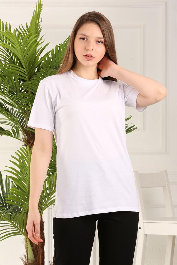 %100 Pamuk Bisiklet Yaka Örme T-Shirt 85825-2