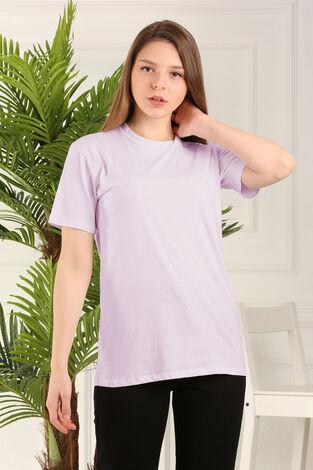 %100 Pamuk Bisiklet Yaka Örme T-Shirt 85825-3 - Thumbnail