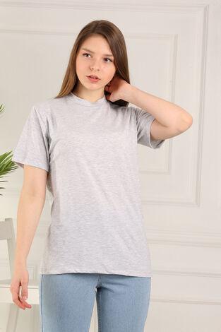 %100 Pamuk Bisiklet Yaka Örme T-Shirt 85825-4 - Thumbnail