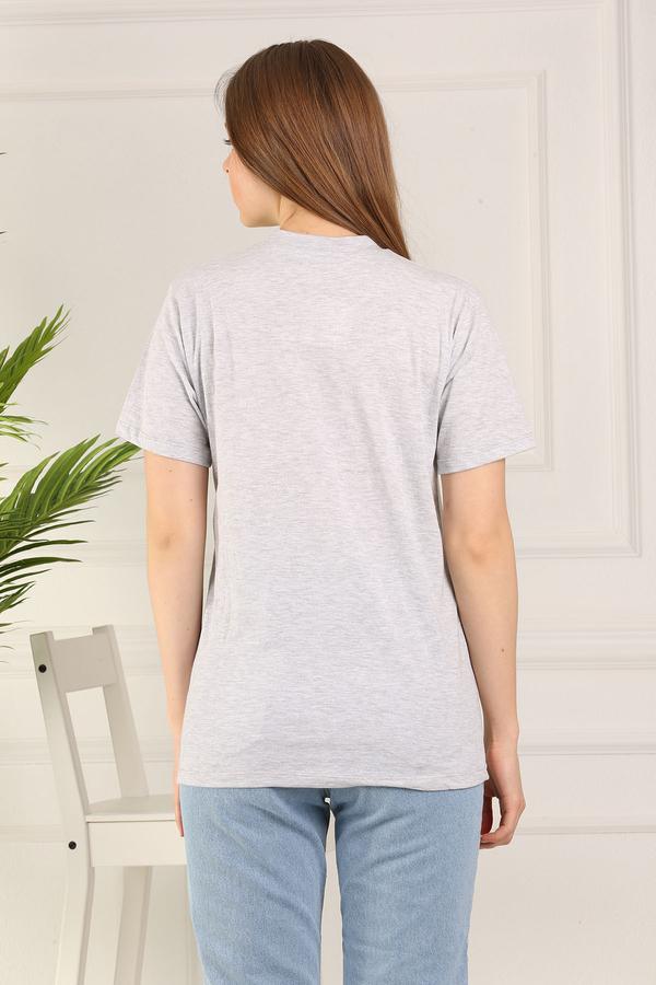 %100 Pamuk Bisiklet Yaka Örme T-Shirt 85825-4