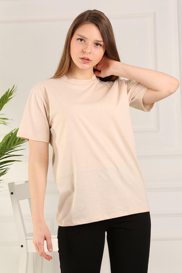 %100 Pamuk Bisiklet Yaka Örme T-Shirt 85825-5