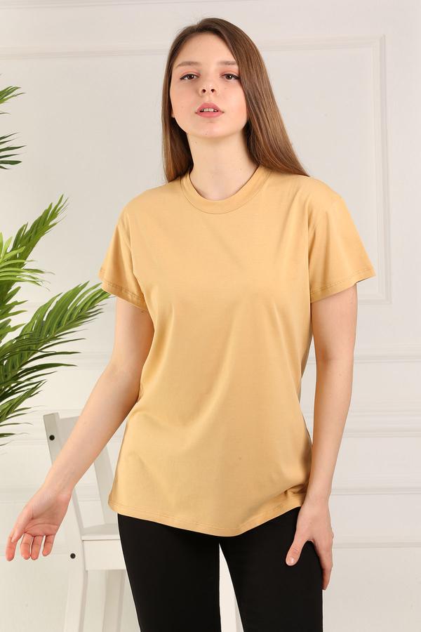 %100 Pamuk Bisiklet Yaka Örme T-Shirt 85825-6