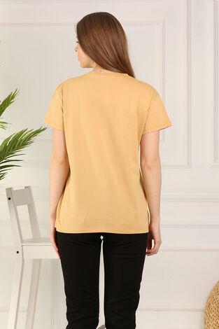 %100 Pamuk Bisiklet Yaka Örme T-Shirt 85825-6 - Thumbnail