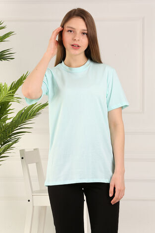 %100 Pamuk Bisiklet Yaka Örme T-Shirt 85825-7 - Thumbnail