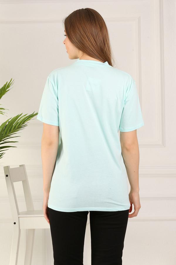 %100 Pamuk Bisiklet Yaka Örme T-Shirt 85825-7