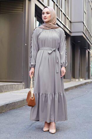 Kol Fırfır Detaylı Elbise 56565EN34550 Gri - Thumbnail