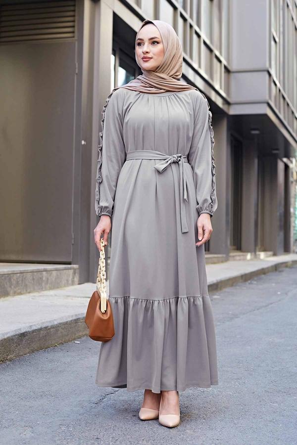 Kol Fırfır Detaylı Elbise 56565EN34550 Gri