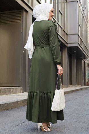Kol Fırfır Detaylı Elbise 56565EN34550 Haki - Thumbnail