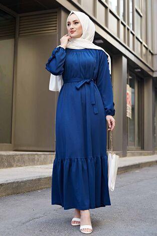 Kol Fırfır Detaylı Elbise 56565EN34550 İndigo - Thumbnail