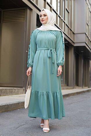 Kol Fırfır Detaylı Elbise 56565EN34550 Mint - Thumbnail
