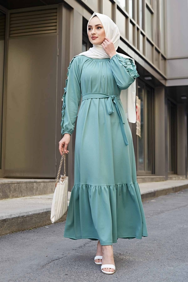 Kol Fırfır Detaylı Elbise 56565EN34550 Mint