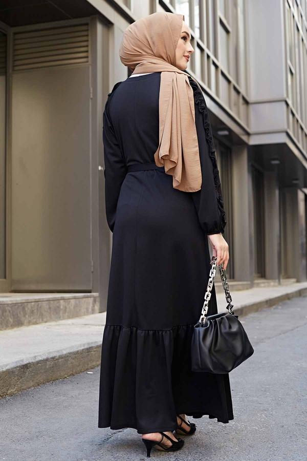 Kol Fırfır Detaylı Elbise 56565EN34550 Siyah