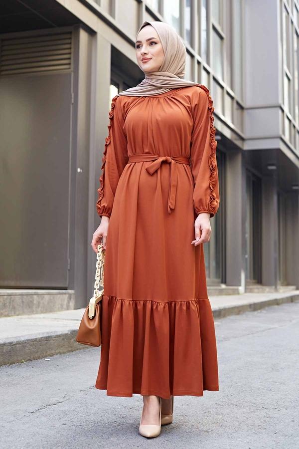 Kol Fırfır Detaylı Elbise 56565EN34550 Taba