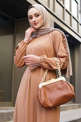 Kol Fırfır Detaylı Elbise 56565EN34550 Vizon - Thumbnail