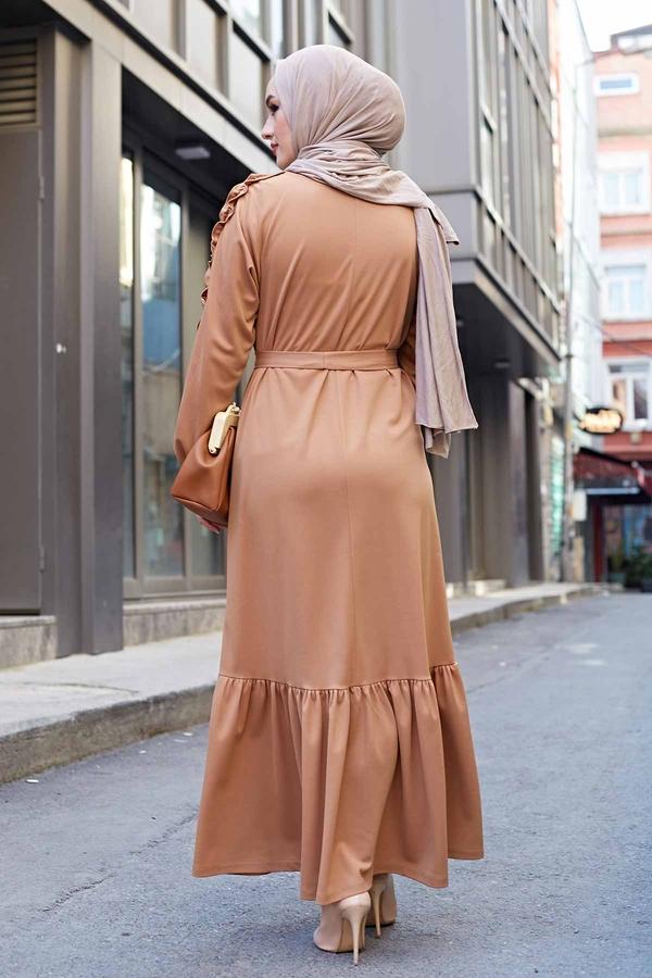 Kol Fırfır Detaylı Elbise 56565EN34550 Vizon