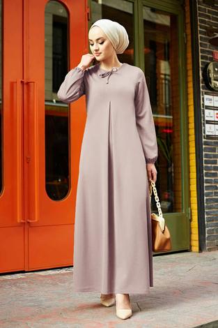 A Kesim Dikiş Detaylı Elbise 5656EN34500 Gri - Thumbnail