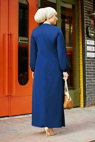 A Kesim Dikiş Detaylı Elbise 5656EN34500 İndigo - Thumbnail