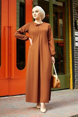 A Kesim Dikiş Detaylı Elbise 5656EN34500 Kiremit - Thumbnail