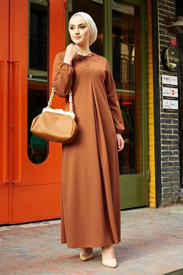 A Kesim Dikiş Detaylı Elbise 5656EN34500 Kiremit