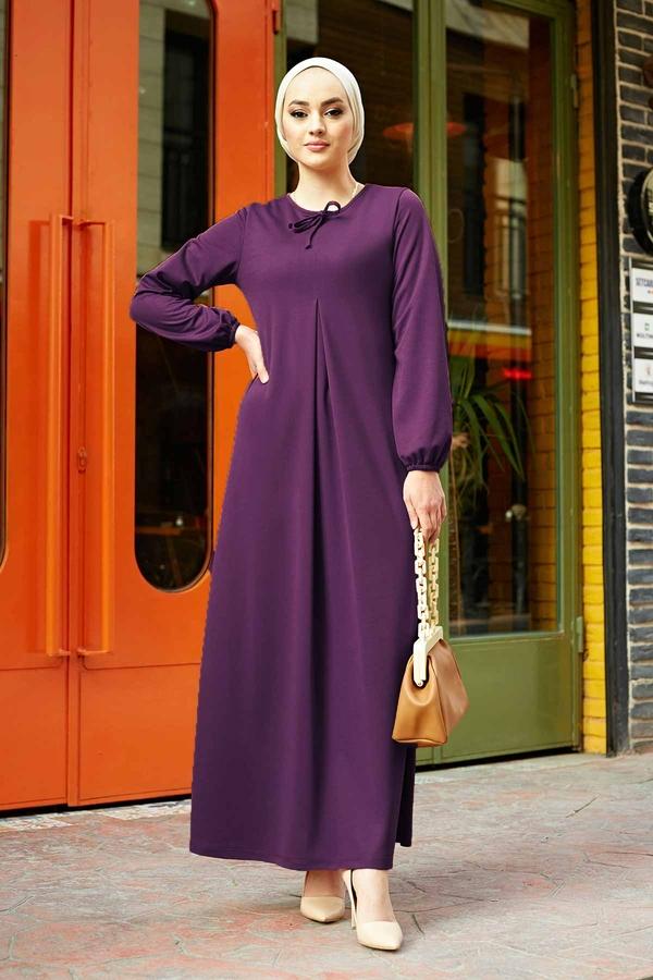 A Kesim Dikiş Detaylı Elbise 5656EN34500 Mor