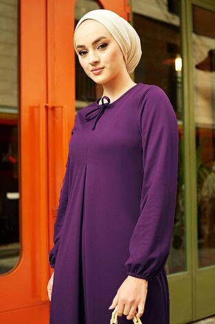 A Kesim Dikiş Detaylı Elbise 5656EN34500 Mor - Thumbnail