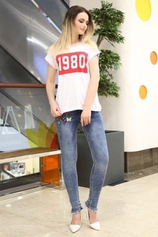 - 1980 Baskılı T-shirt 1980-1 Beyaz