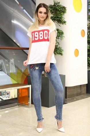 - 1980 Baskılı T-shirt 1980-1 Beyaz (1)