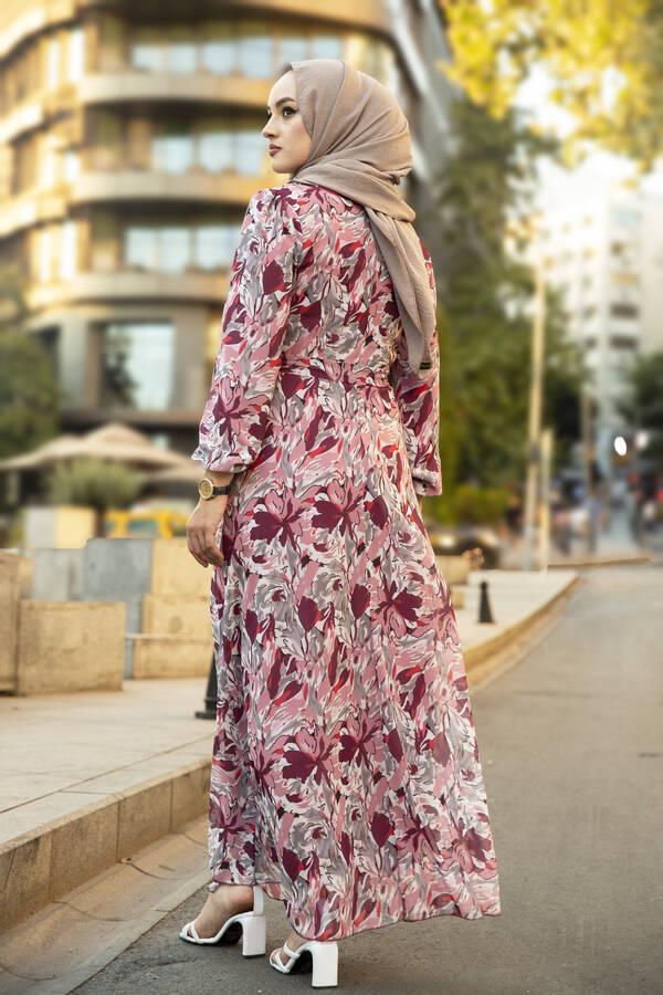 Alacalı Şifon Elbise Gülkurusu