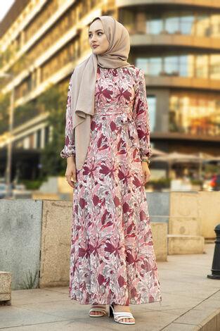 Alacalı Şifon Elbise Gülkurusu - Thumbnail
