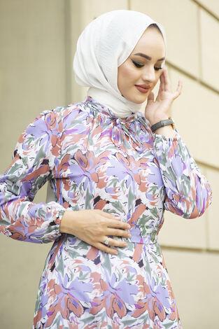 Alacalı Şifon Elbise Lila - Thumbnail