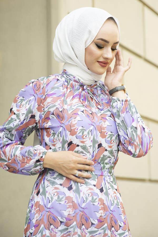Alacalı Şifon Elbise Lila