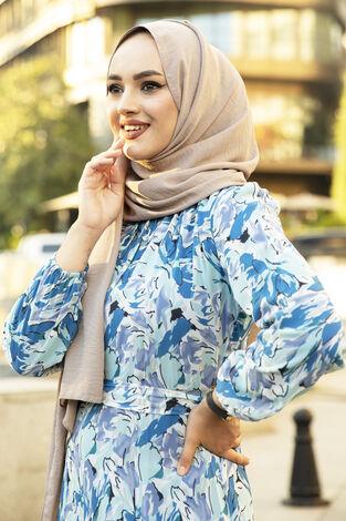 Alacalı Şifon Elbise Mavi - Thumbnail