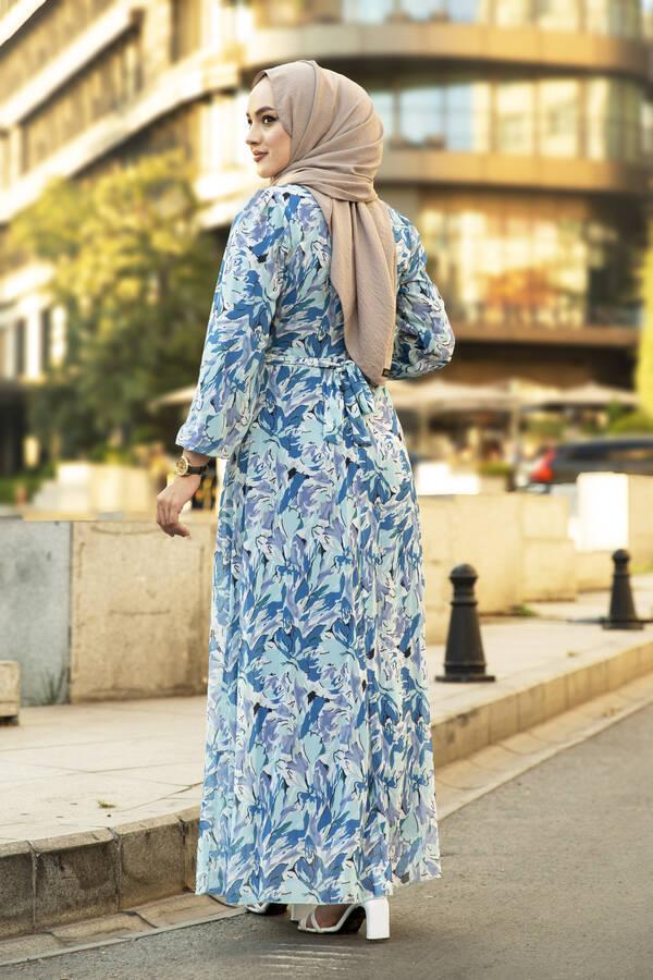 Alacalı Şifon Elbise Mavi