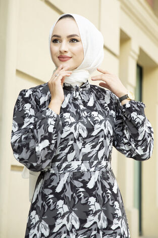 Alacalı Şifon Elbise Siyah - Thumbnail