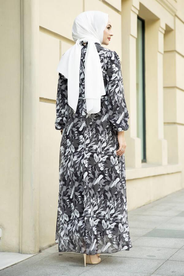 Alacalı Şifon Elbise Siyah