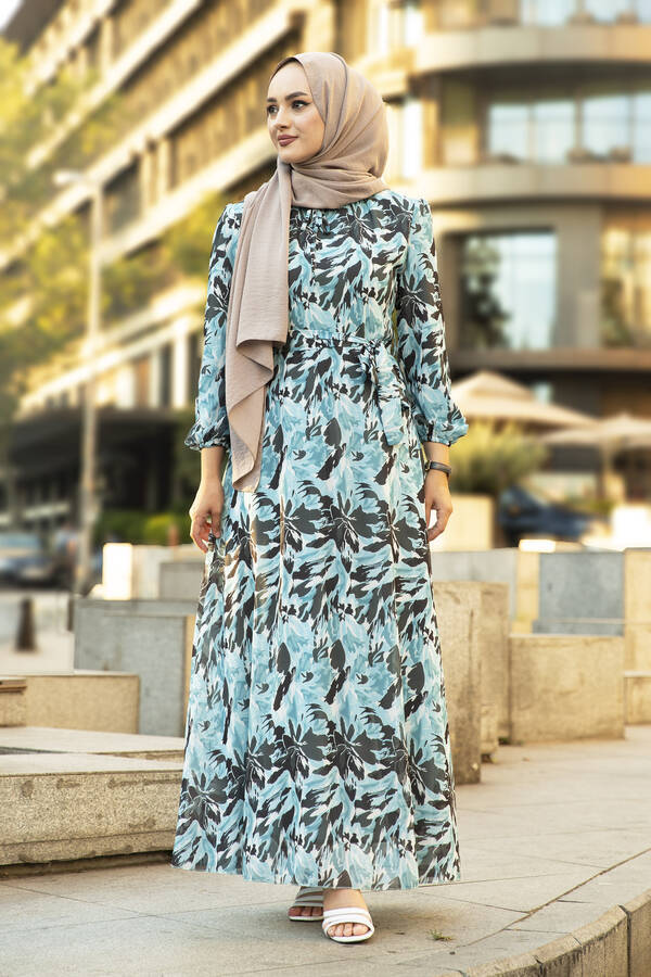 Alacalı Şifon Elbise Su Mavisi