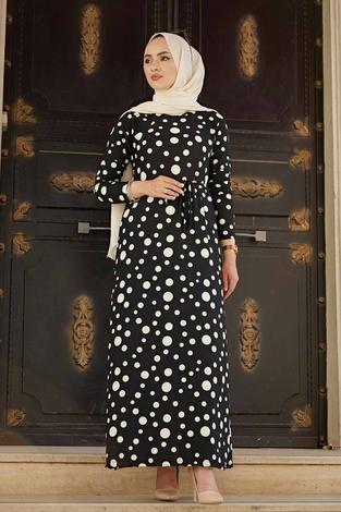 Analı Kızlı Düz Kesim Elbise 190E-4119 Siyah - Thumbnail
