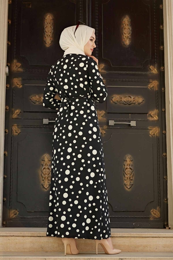 Analı Kızlı Düz Kesim Elbise 190E-4119 Siyah