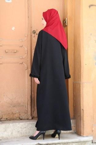 Gül Detaylı Abaya Ferace 4820-01 - Thumbnail