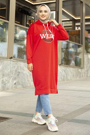 West Ara Boy Tesettür Tunik Kırmızı - Thumbnail
