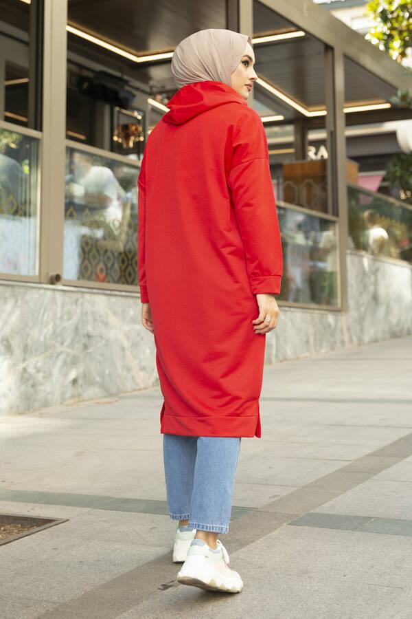 West Ara Boy Tesettür Tunik Kırmızı