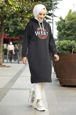 West Ara Boy Tesettür Tunik Siyah - Thumbnail