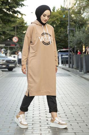West Ara Boy Tesettür Tunik Sütlü Kahve - Thumbnail