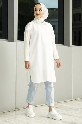 Arkadan V Kesim Tunik 100MD-10428 Beyaz - Thumbnail