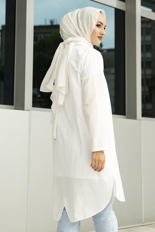 Arkadan V Kesim Tunik 100MD-10428 Beyaz
