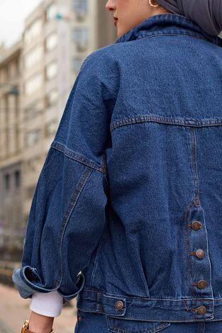 Arkası Düğmeli Yarasa Ceket 190E-5016 Koyu Mavi - Thumbnail