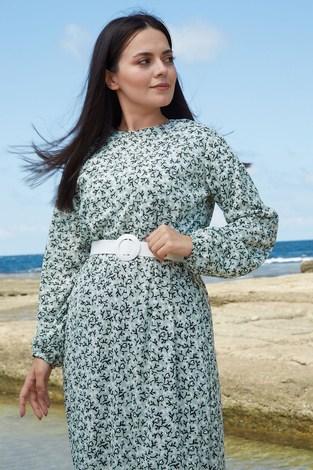 AVEN Beyaz Kemerli ÇıtıPıtı Elbise 7045-2 Mint - Thumbnail