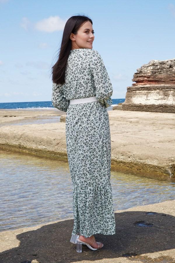 AVEN Beyaz Kemerli ÇıtıPıtı Elbise 7045-2 Mint