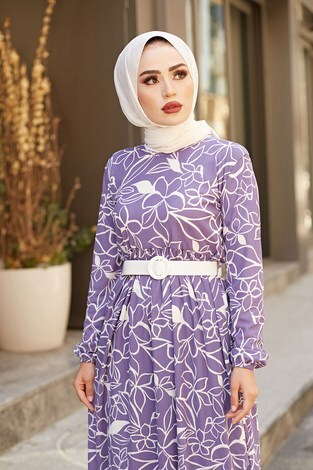 - AVEN Çiçek Desenli Elbise 4445-6 Lila (1)