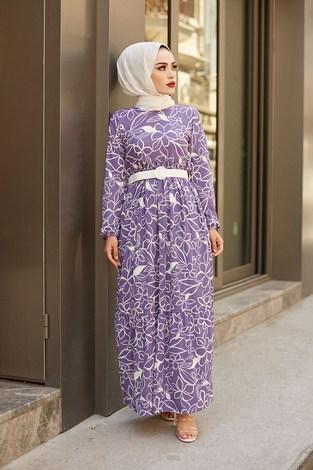 - AVEN Çiçek Desenli Elbise 4445-6 Lila